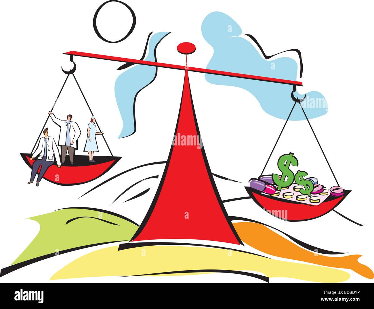 Imagen conceptual que representa a los médicos y gastos médicos con un saldo Imagen De Stock