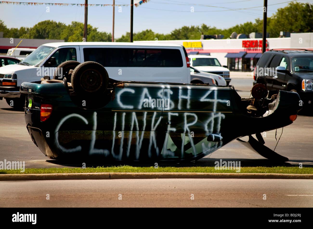 Publicidad firme el efectivo programa Clunkers Imagen De Stock