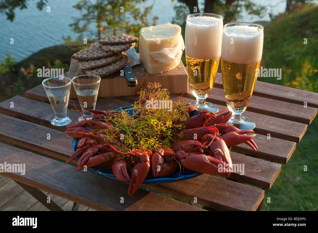 Juego de mesa para un cangrejo Sueca tradicional fiesta. Foto de stock