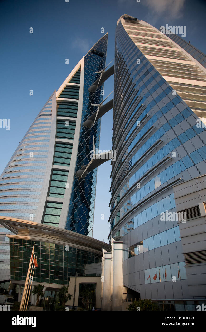 Bahrain World Trade Center Manama Aerogeneradores Imagen De Stock