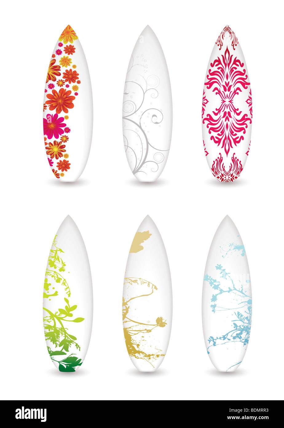 Colección de seis tablas de surf con patrones abstractos y sombra Imagen De Stock