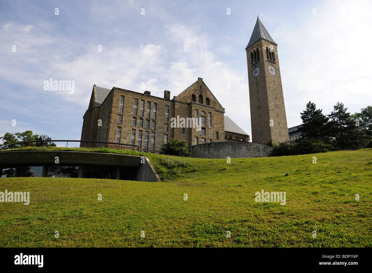 La Universidad de Cornell, Torre McGraw Uris y biblioteca. Imagen De Stock
