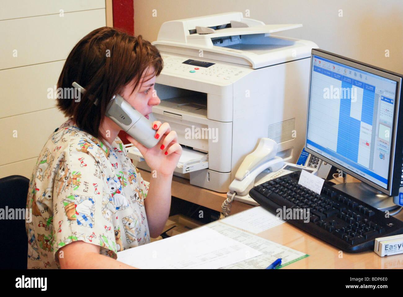 Clínica del veterinario, para mascotas y animales pequeños. Cirujano veterinario en su oficina. Modelo lanzamientos disponibles Foto de stock
