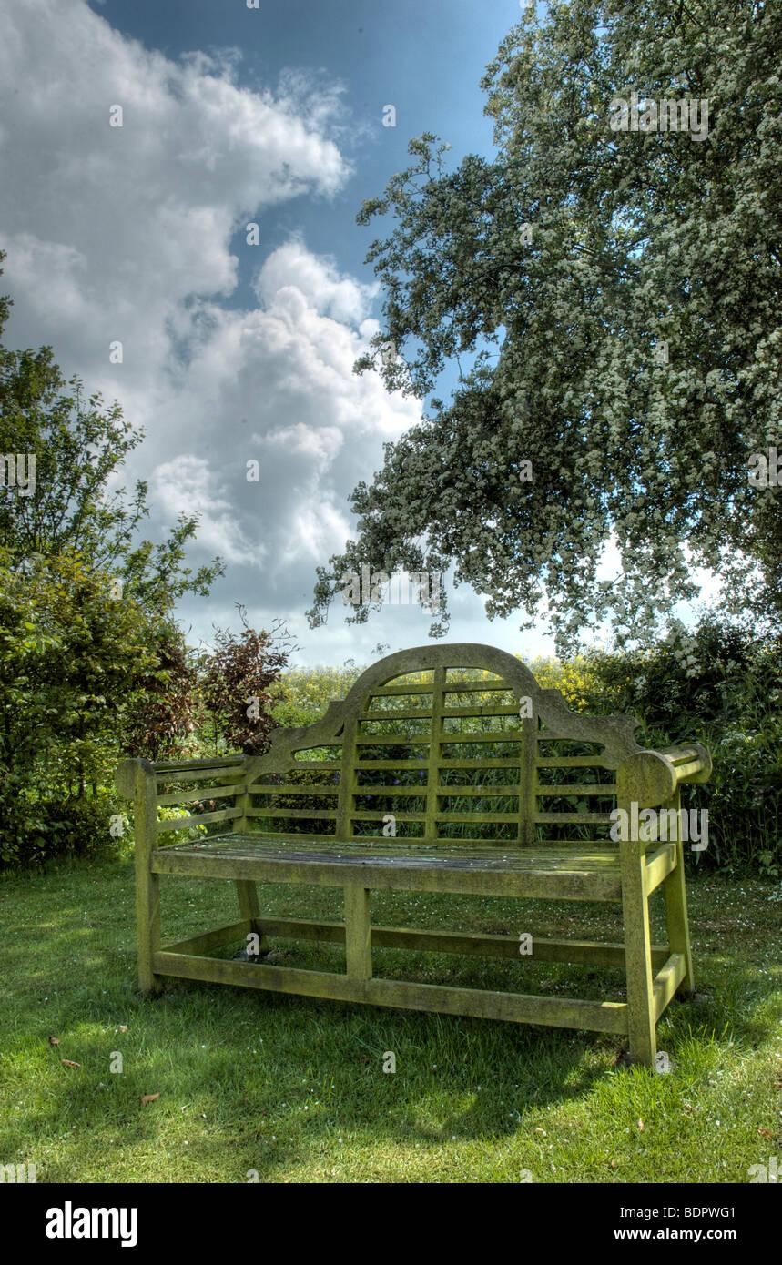 Un banco de jardín bajo el árbol en flor en flor y un cielo azul Imagen De Stock