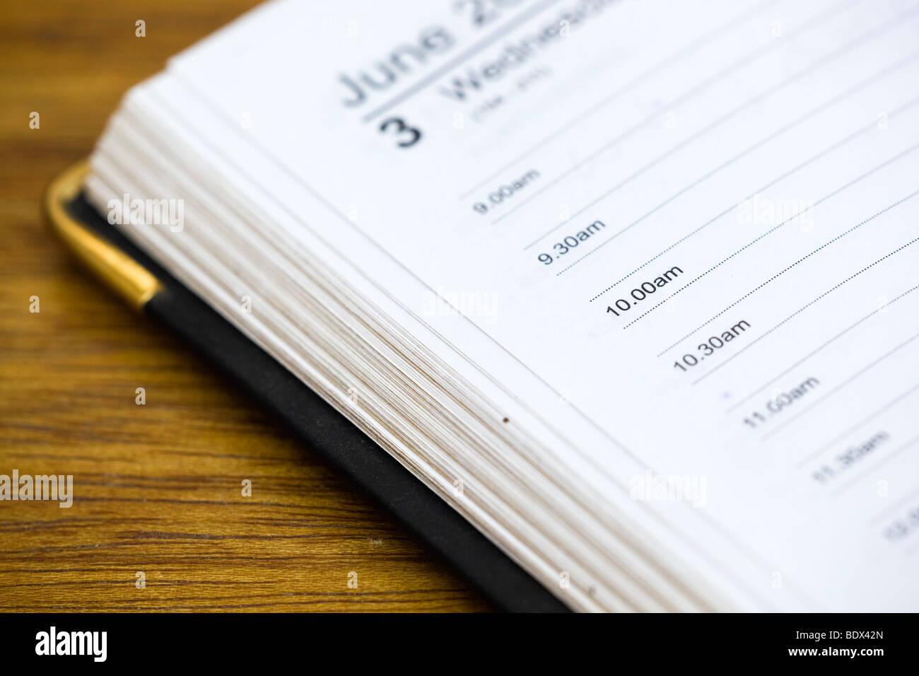 Página agenda; Junio Imagen De Stock