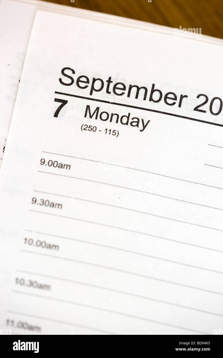 Página agenda; lunes Imagen De Stock