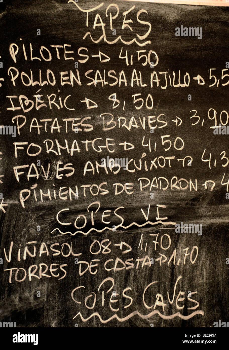Menú de tapas españolas junta Imagen De Stock