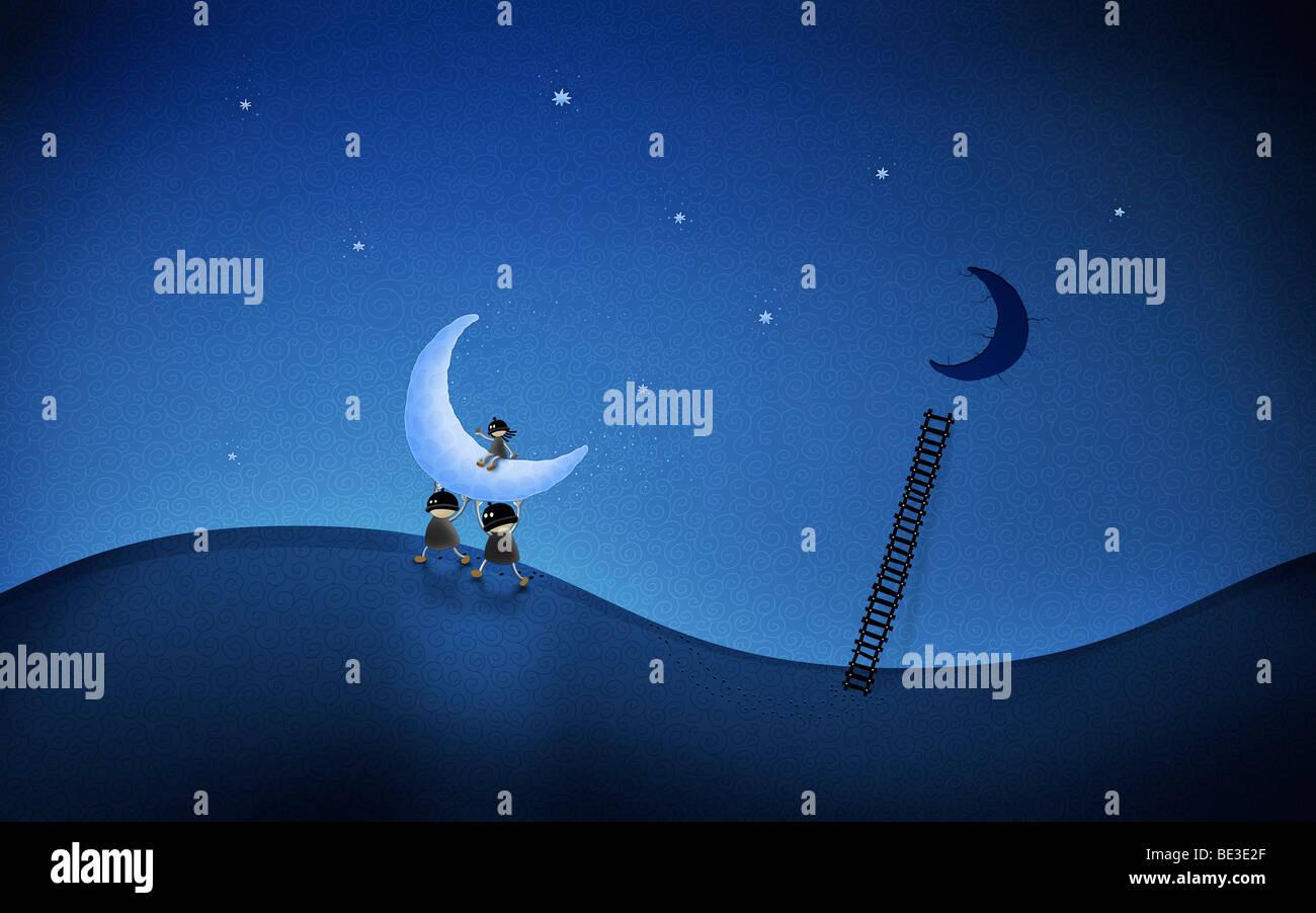 Ilustración de personajes animados robando la luna. Imagen De Stock
