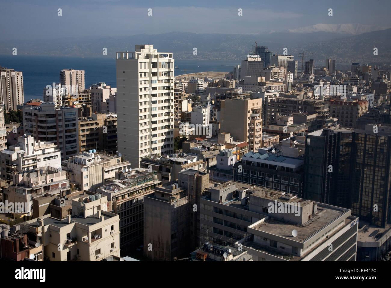 Birdeye Vista del distrito comercial de Beirut Beirut, Líbano bloques de apartamentos Imagen De Stock