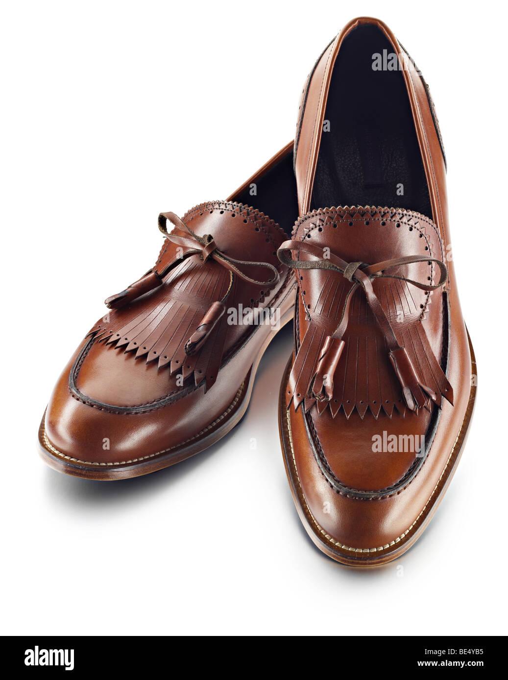 Mens de cuero marrón Zapato estilo golf Imagen De Stock