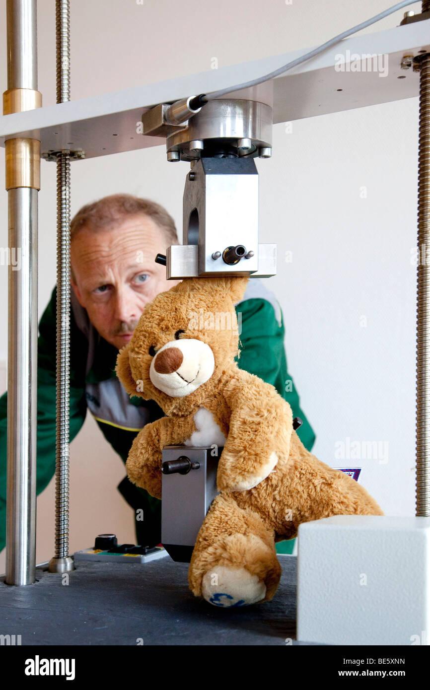 La prueba de la solidez de las costuras sobre un oso de peluche, para la marca de certificación GS, pruebas Imagen De Stock