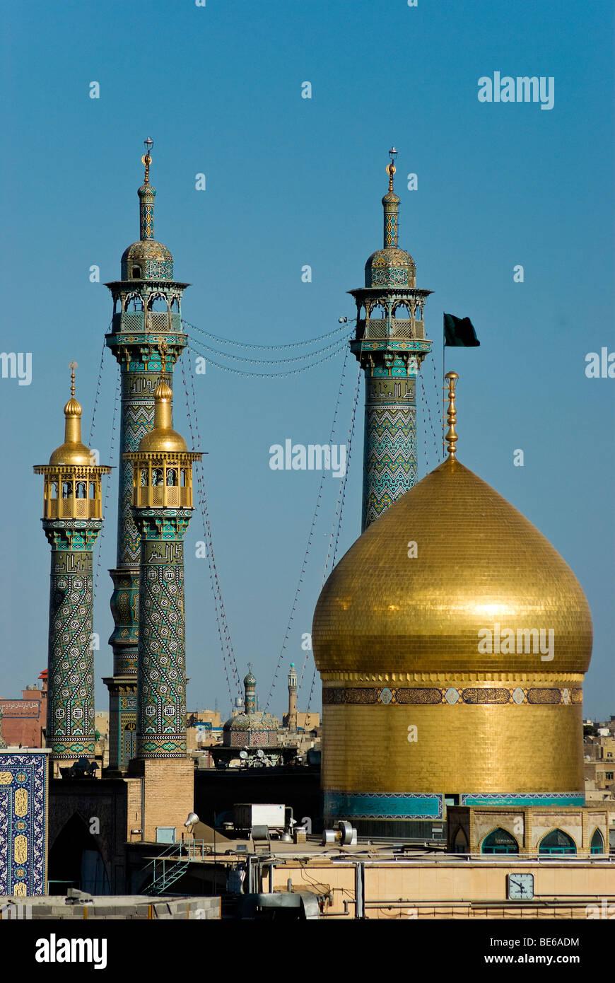 Vista del santuario de Fátima al-Masumeh, Qom, Irán Imagen De Stock