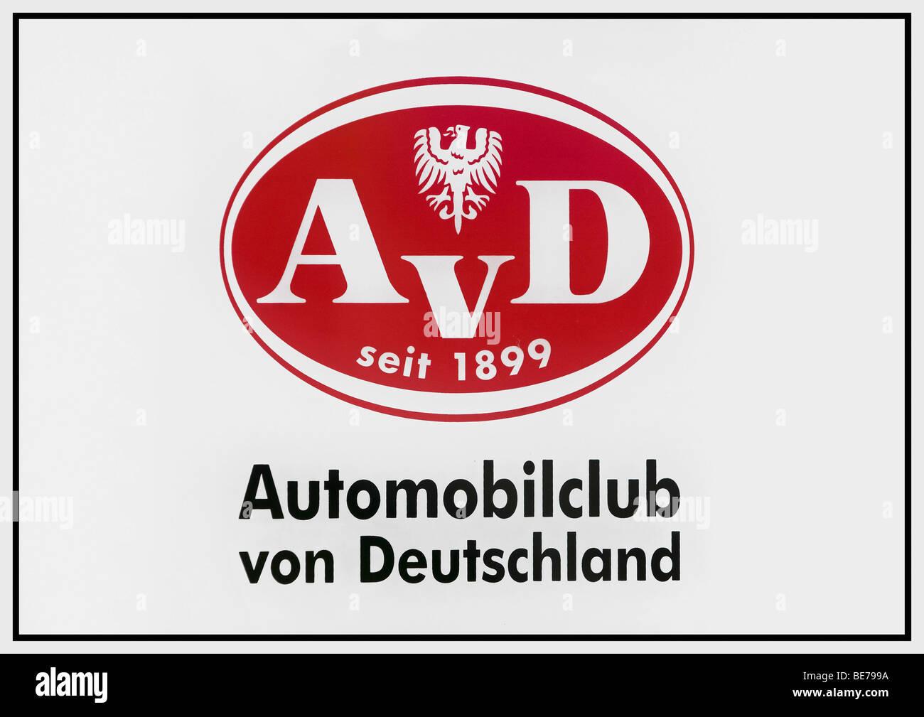 Logo AvD, Automóvil Club de Alemania, desde 1899 Imagen De Stock