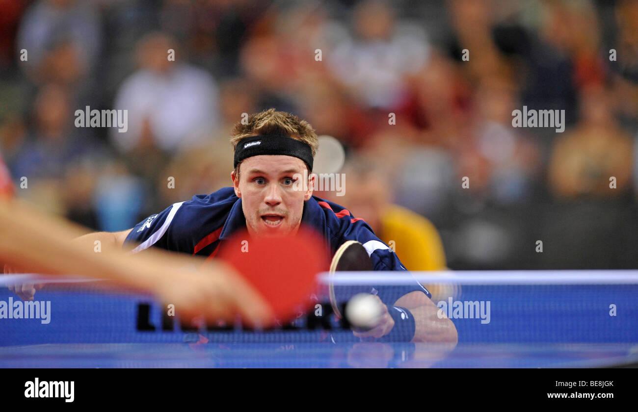 Unión campeón Michael Maze, Dinamarca, tenis de mesa EM 2009, Porsche-Arena, Stuttgart, Baden-Wurtemberg, Imagen De Stock