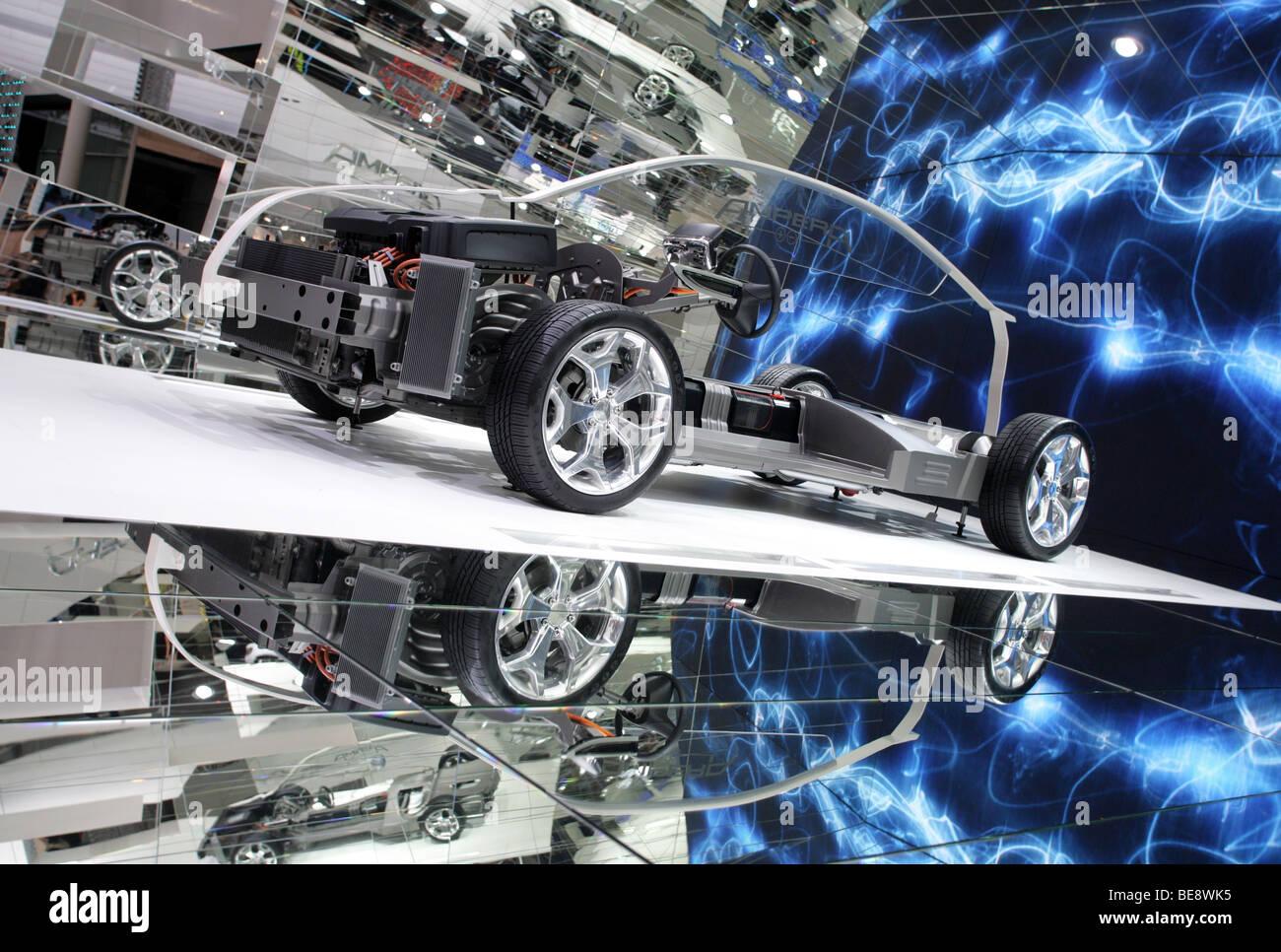 Coche eléctrico Opel AMPERA en el 63. Motor Show de IAA en Frankfurt/Alemania, 15.9.2009 Imagen De Stock