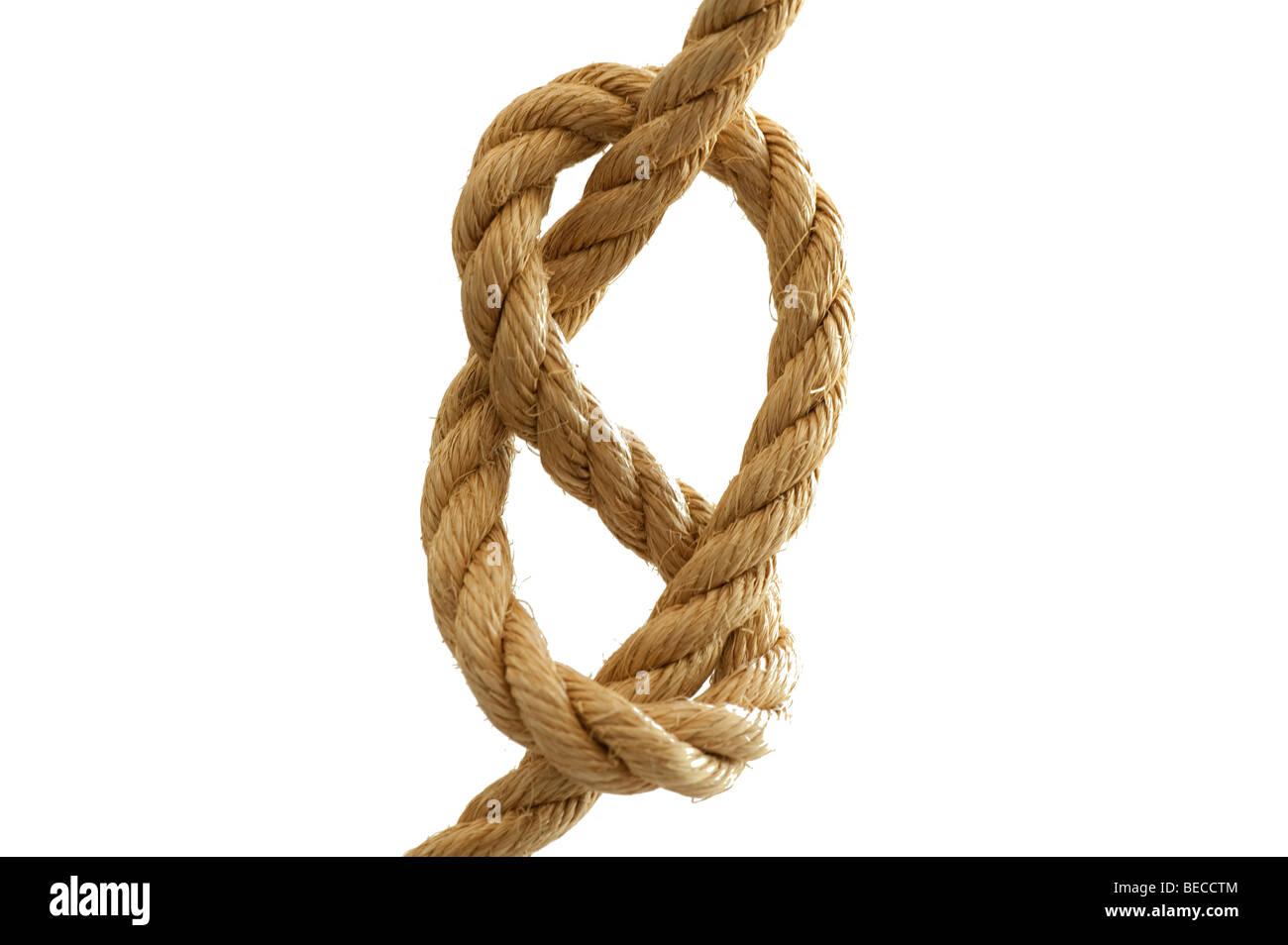 Gran nudo en pesada cuerda de cáñamo de manila Imagen De Stock
