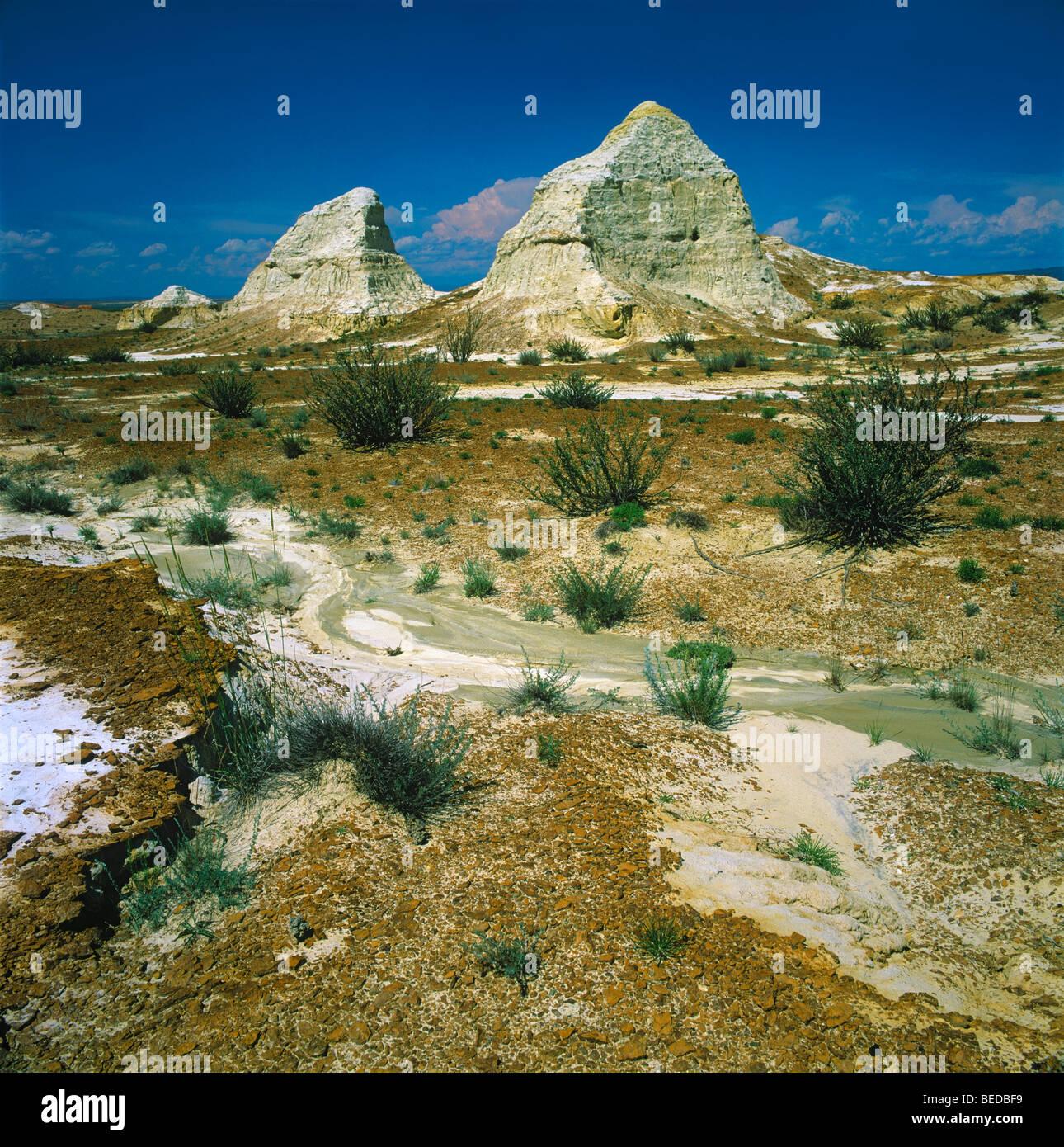 Las arcillas blancas con fósiles de montaña Kiin-Kerish paleontológica. Zaisan Depresión, Kazajstán Imagen De Stock