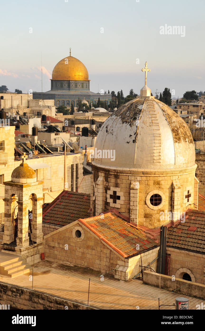 Vistas al centro histórico de la ciudad de Jerusalén con la cúpula de la roca, Israel, Oriente Próximo, Imagen De Stock