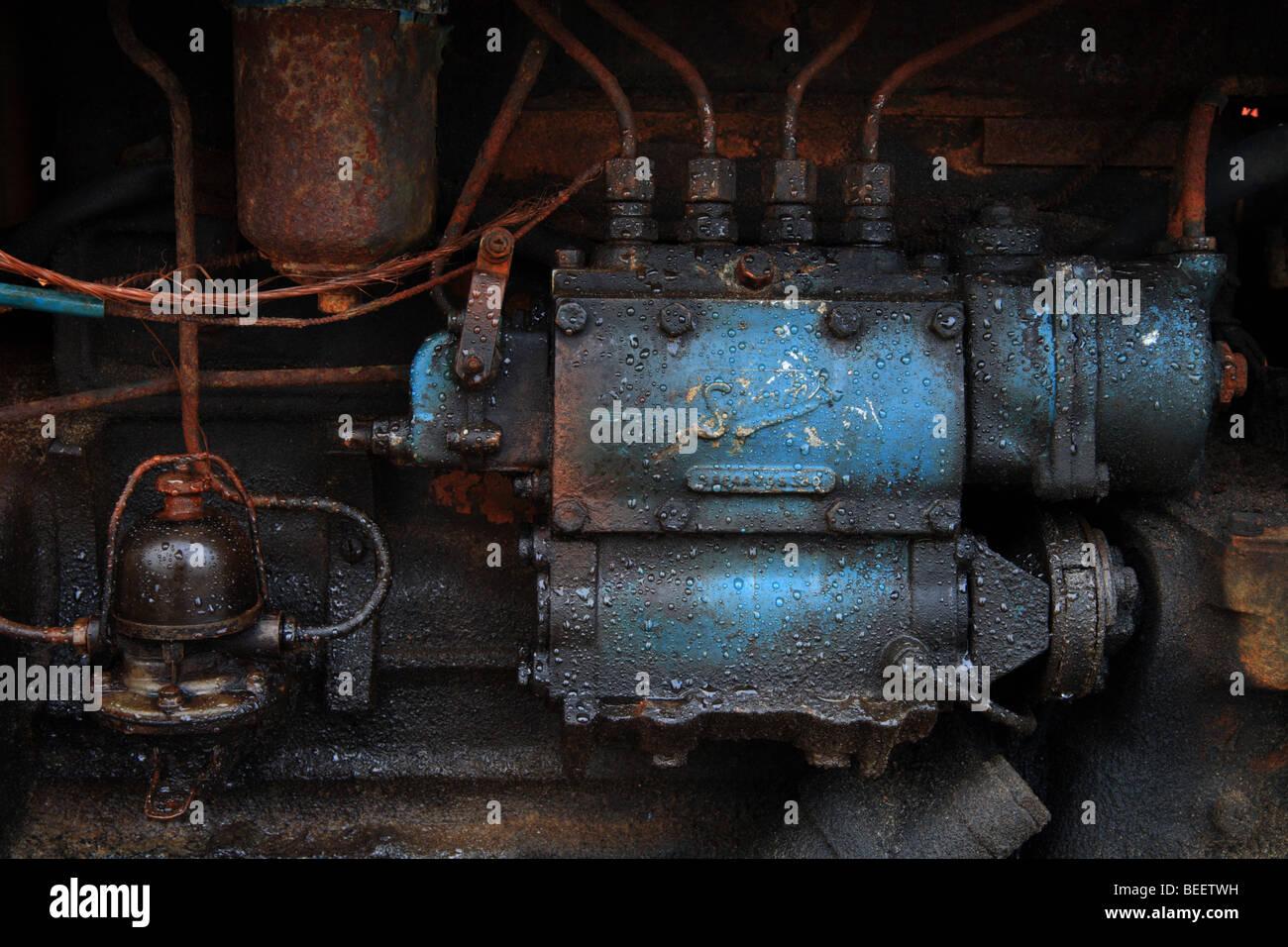 """""""Rusty el motor del tractor' Cromer Playa, Norfolk, Inglaterra. Imagen De Stock"""