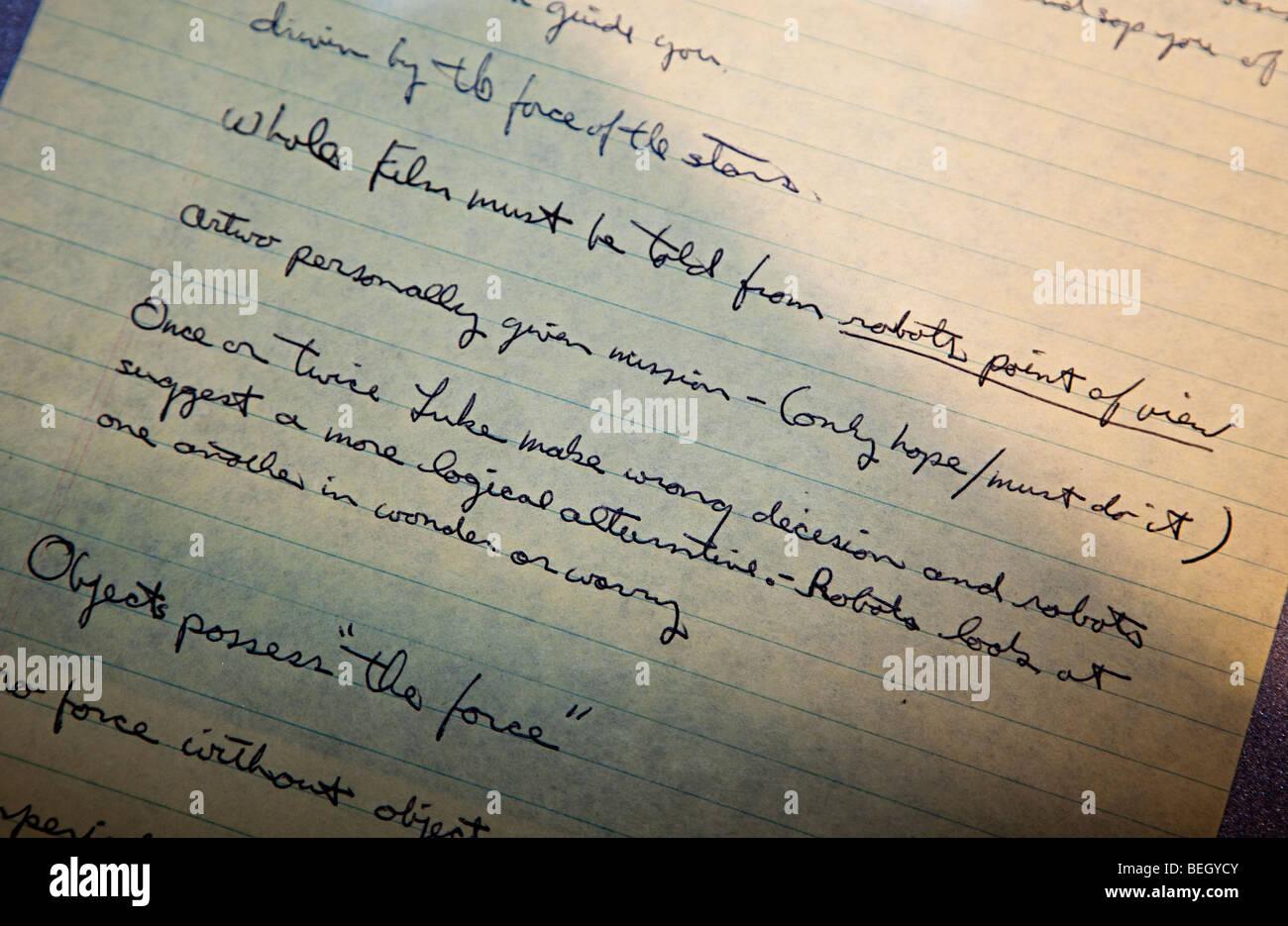 George Lucas historia temprana original script para Star Wars en pantalla el Centro Espacial de la NASA en Houston, Imagen De Stock
