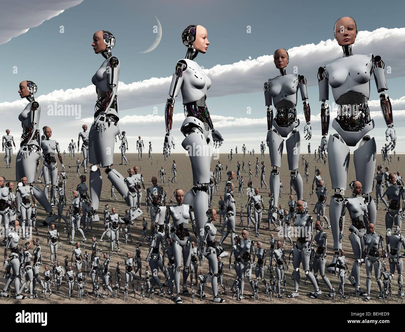 El hacinamiento en 3D una imagen conceptual Imagen De Stock