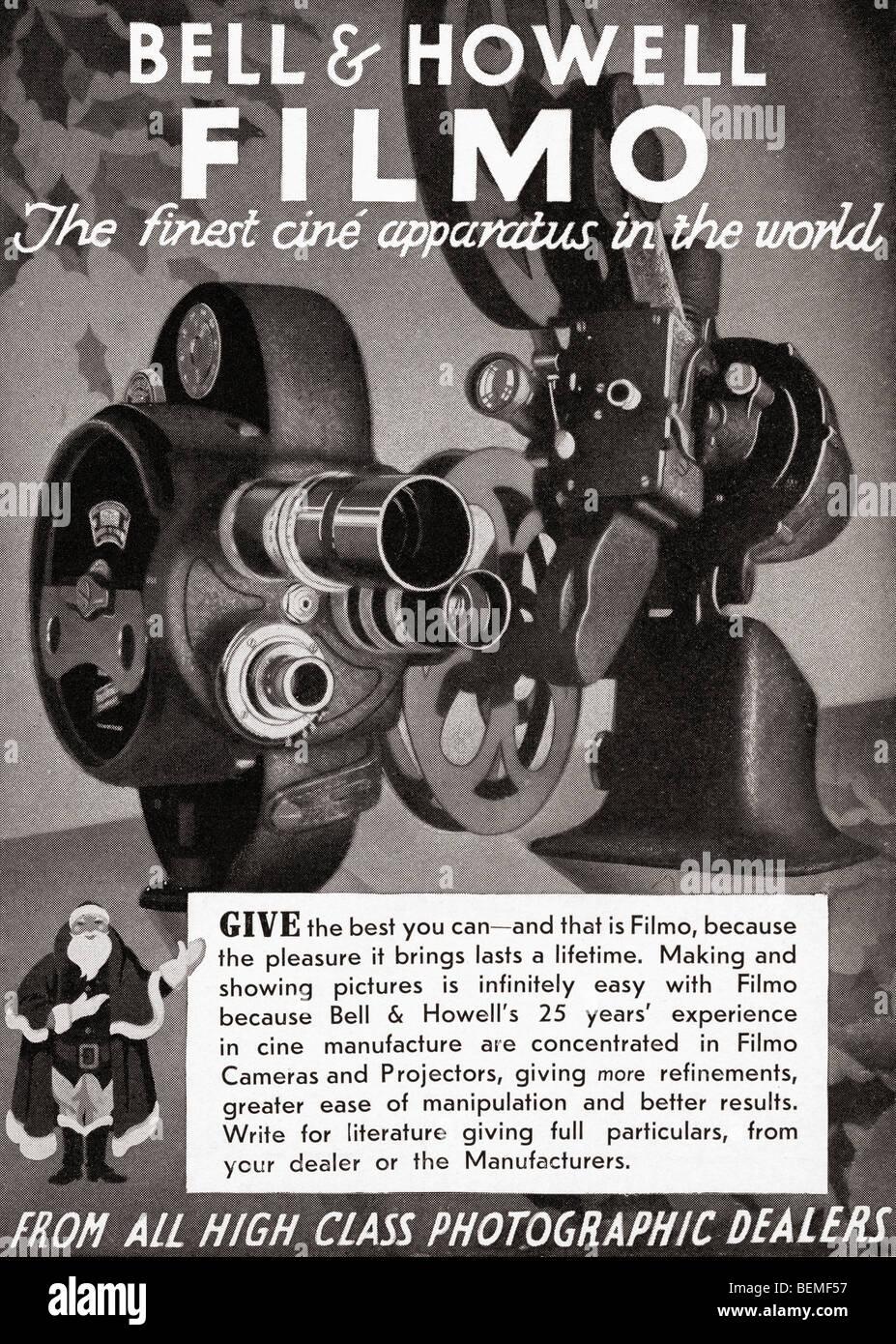 1930 Anuncio para la campana y Howell filmo la cámara de cine. Desde el Illustrated London News, número Imagen De Stock