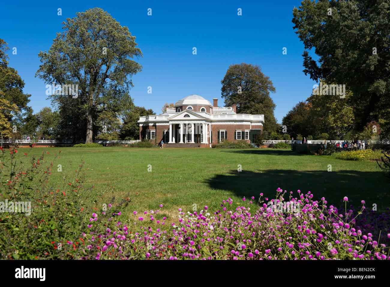 La casa de Thomas Jefferson, Monticello, en Charlottesville, Virginia, EE.UU. Imagen De Stock