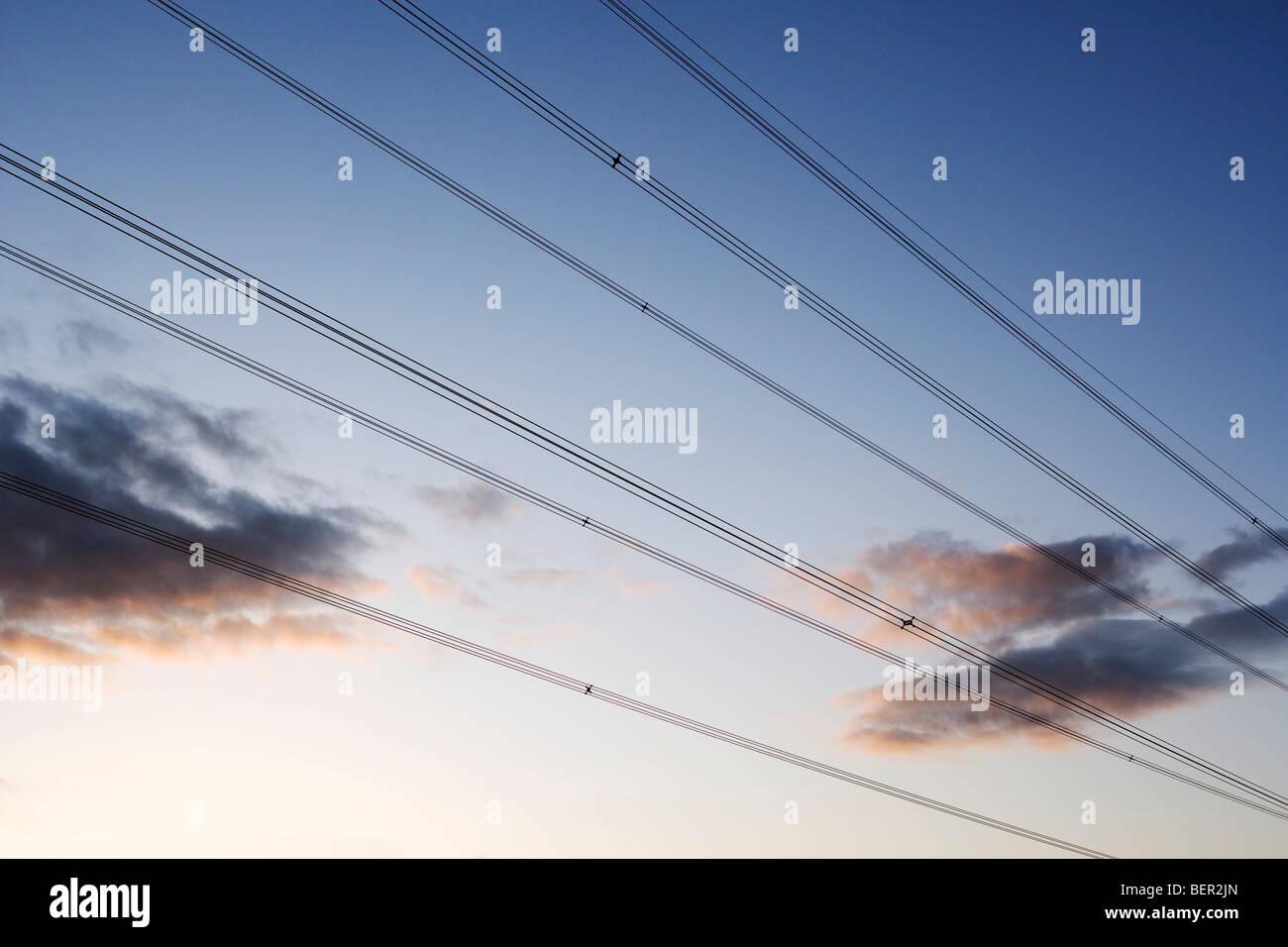 Los cables de alimentación eléctrica Imagen De Stock