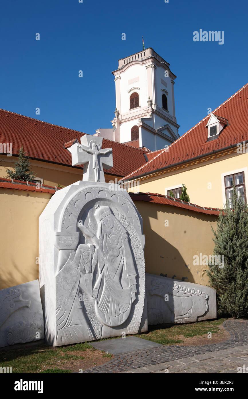 La escultura fuera de Bishop's Palace - ( Győr ) Gyor Hungría Imagen De Stock