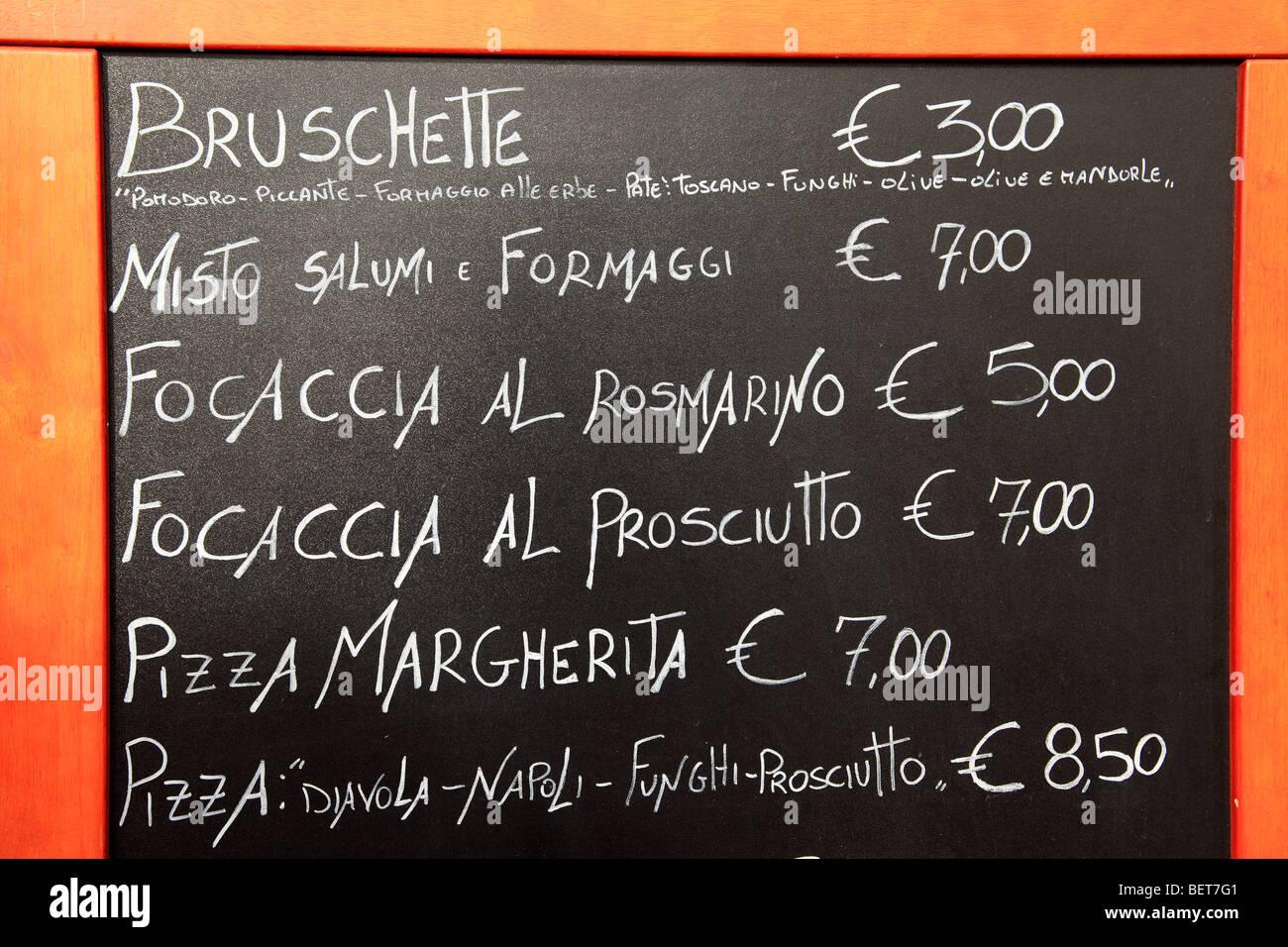 Menú cafetería exterior en Roma Imagen De Stock