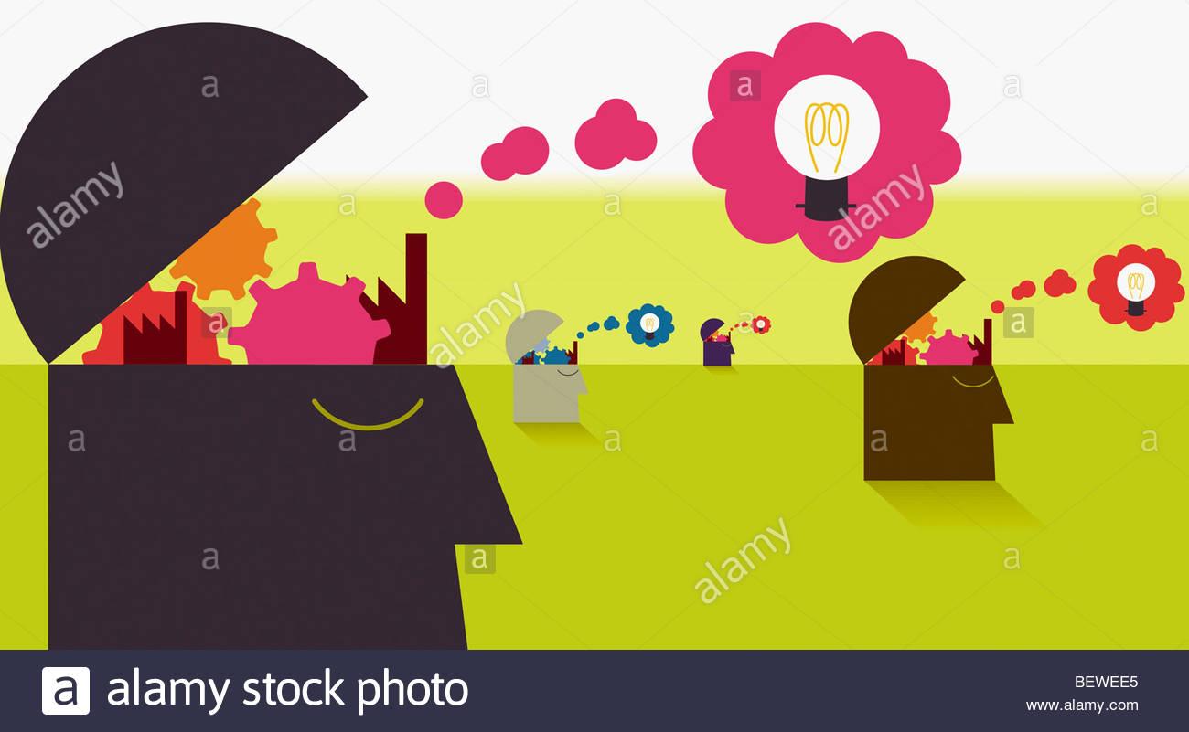 La cabeza de la gente abra revelando cogs y burbujas con bombillas Imagen De Stock