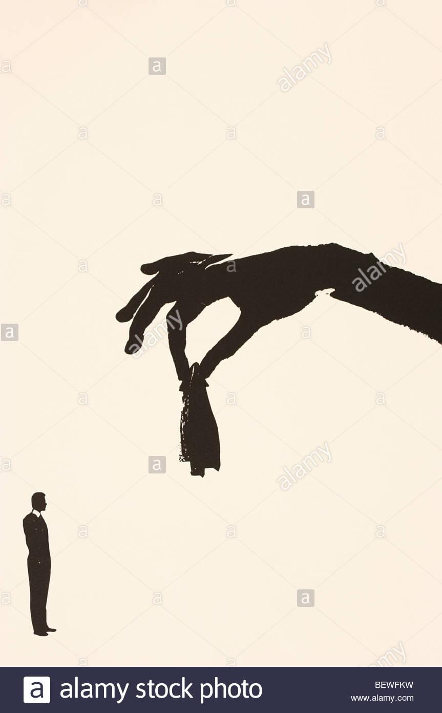 Mano sujetando untar sobre el hombre Imagen De Stock