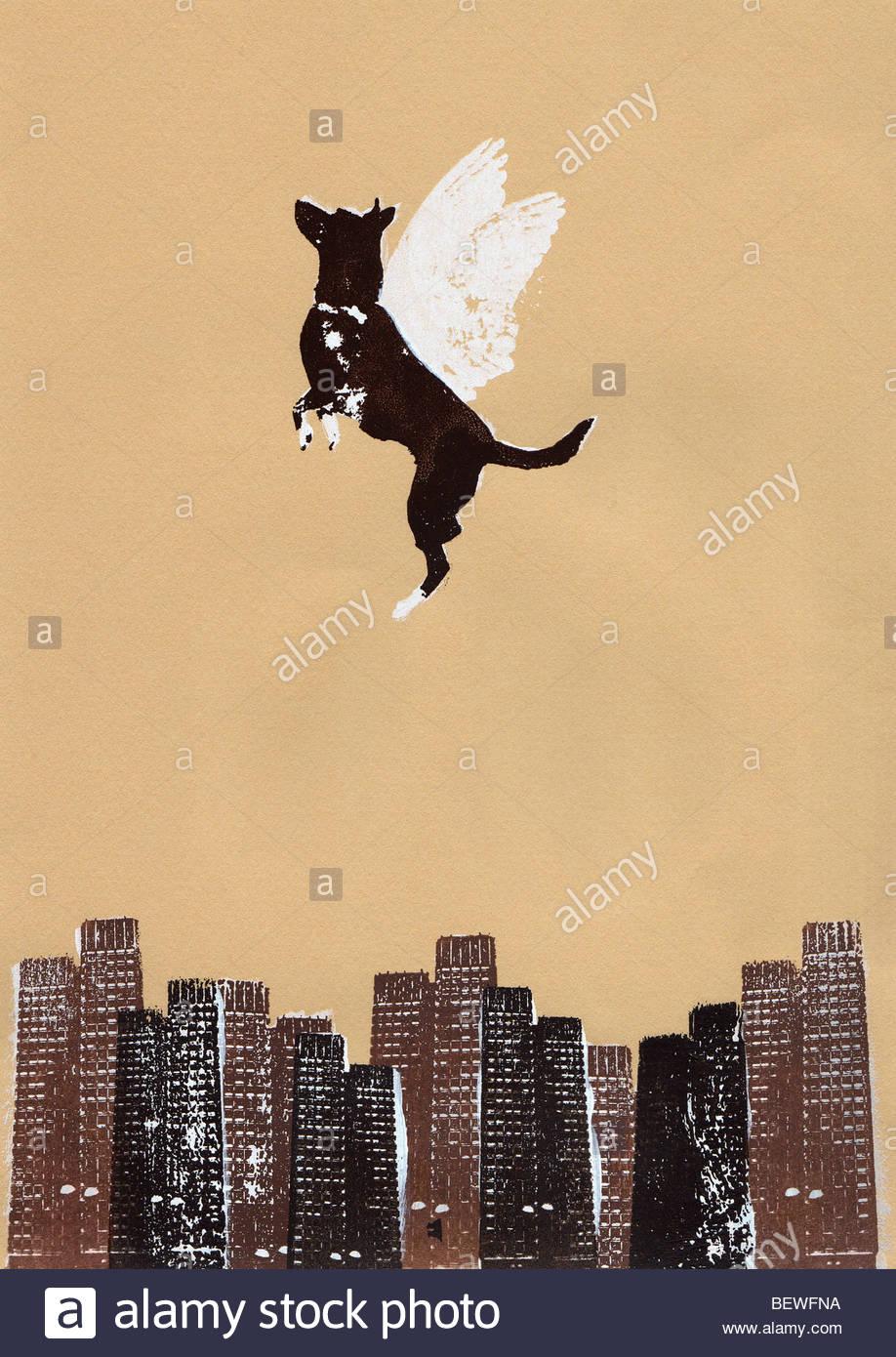Perro alado volando por encima de ciudad Imagen De Stock