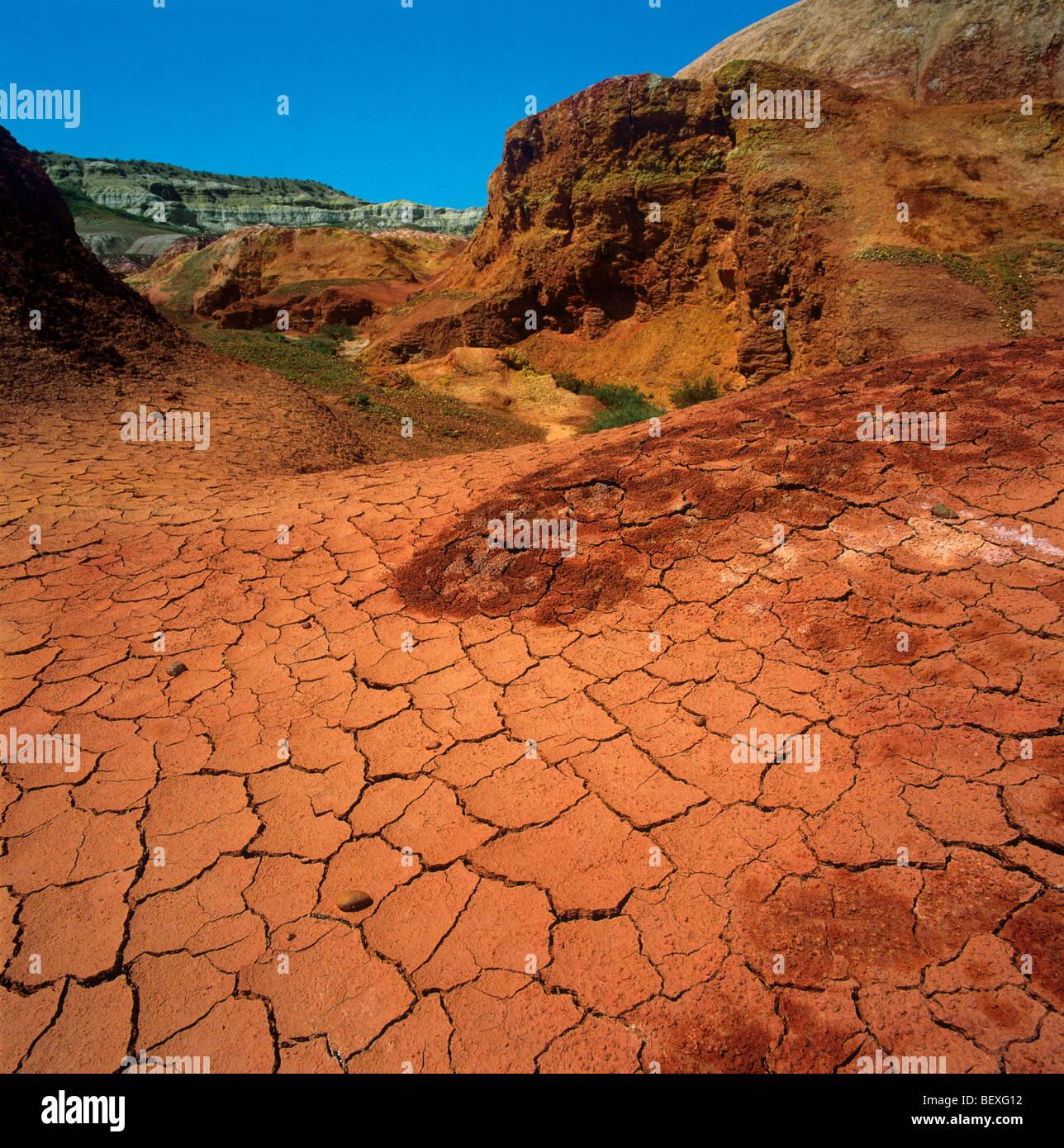 Las arcillas rojas del sitio paleontológico Kiin-Kerish. Zaisan Depresión, Kazajstán oriental Imagen De Stock