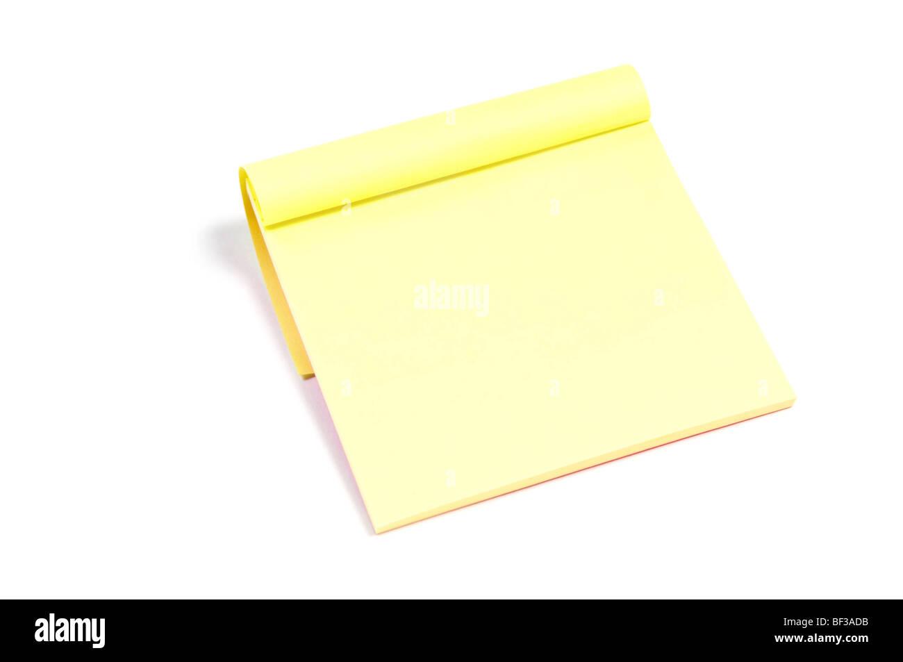 Sticky Note Pad de papel aislado en blanco Imagen De Stock