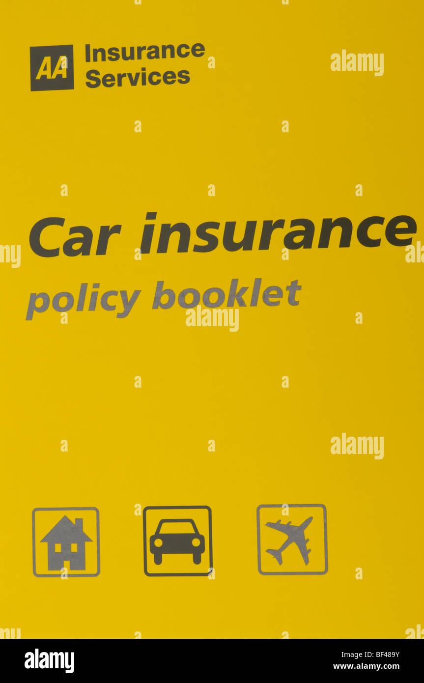 Servicios de seguros AA Folleto Póliza de Seguro de coche Foto de stock