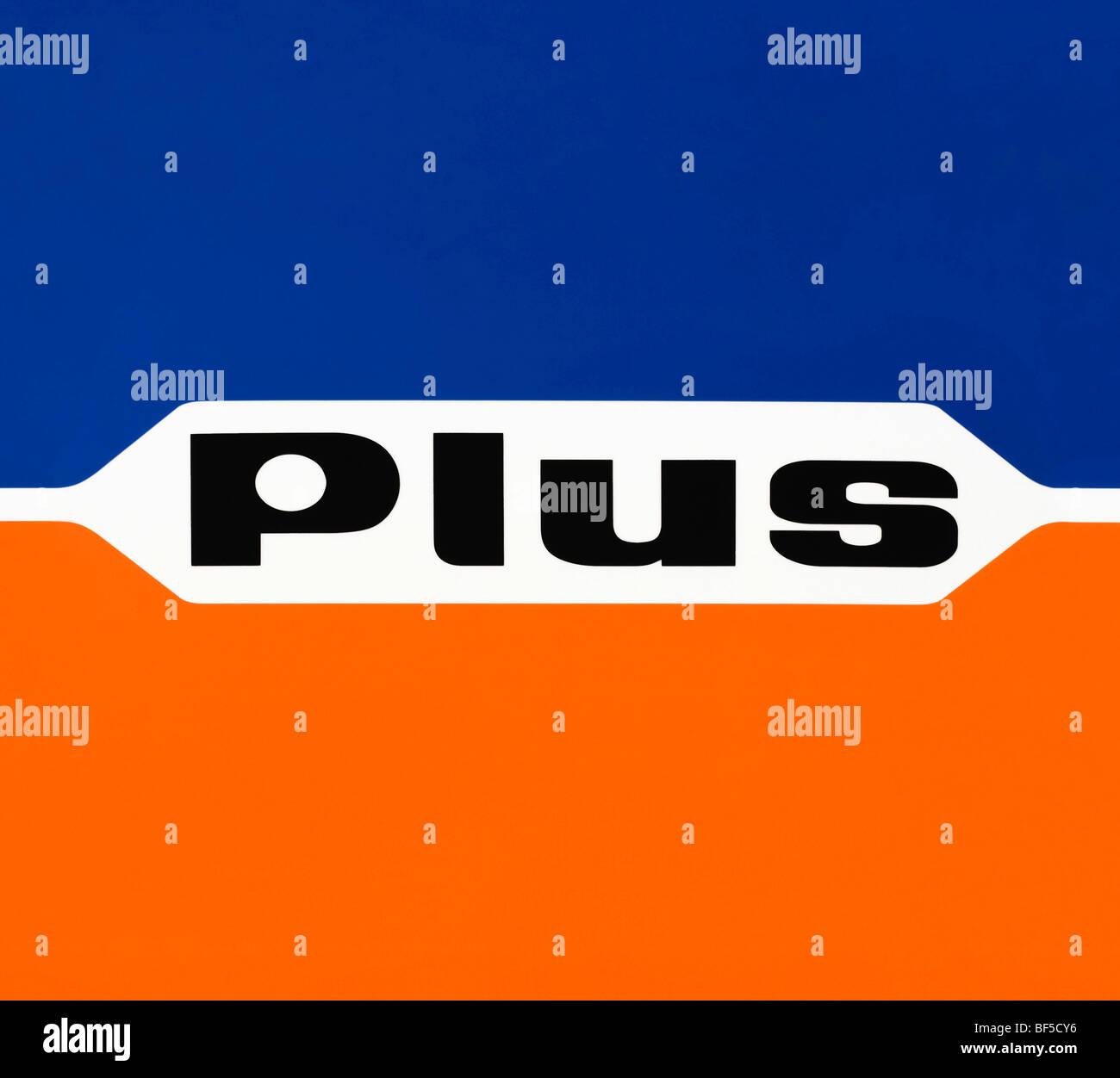 El logotipo, además, descuento, supermercados Plus Warenhandelsgesellschaft mbH Foto de stock