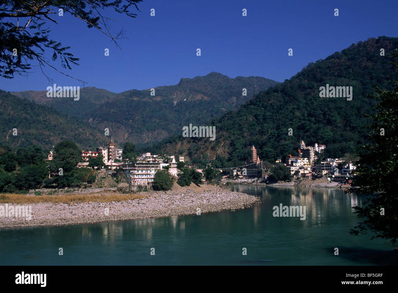 La india, Uttarakhand, Rishikesh, río Ganges, lakshman jhula Imagen De Stock