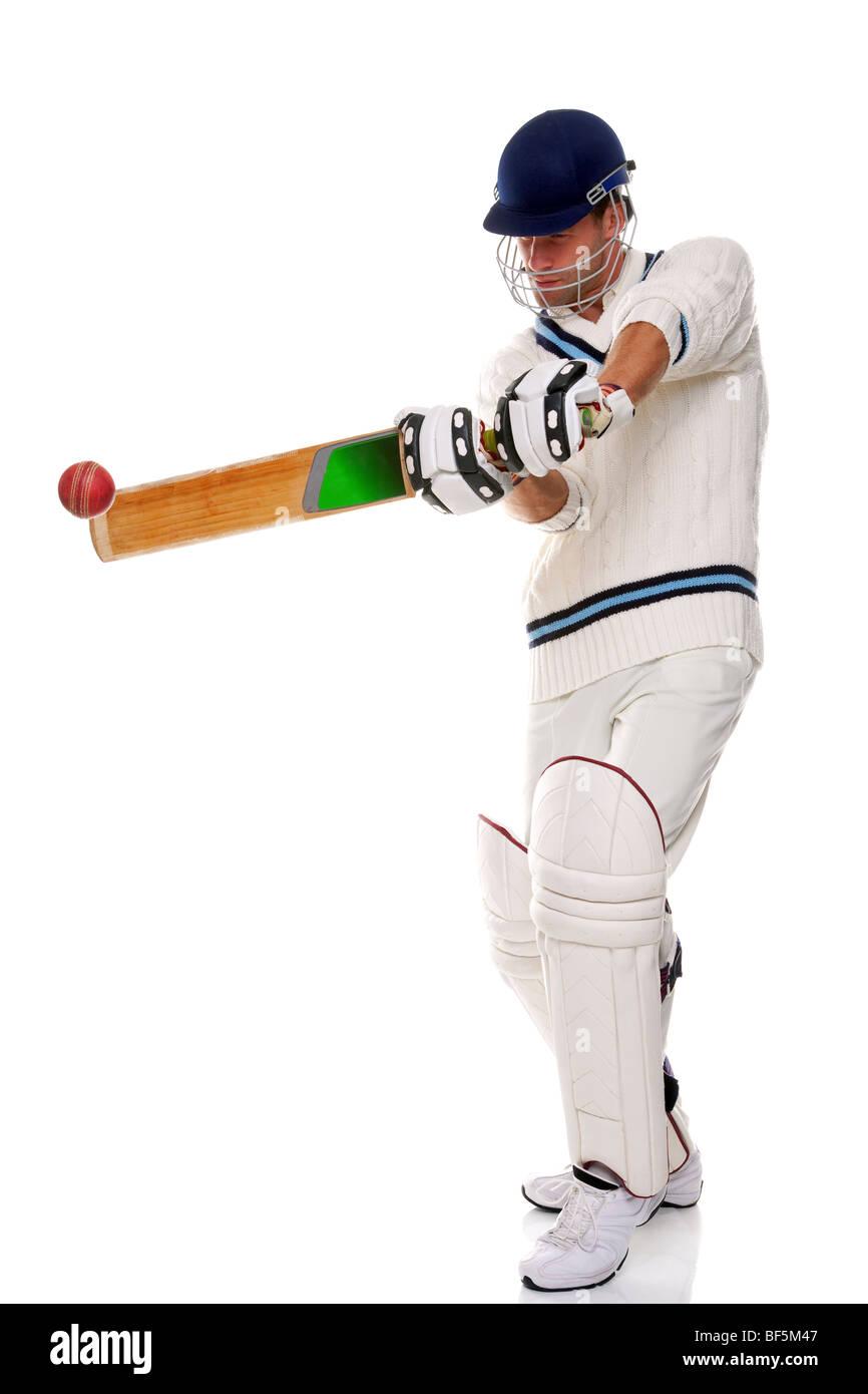 Cricketer, Foto de estudio sobre fondo blanco. Foto de stock