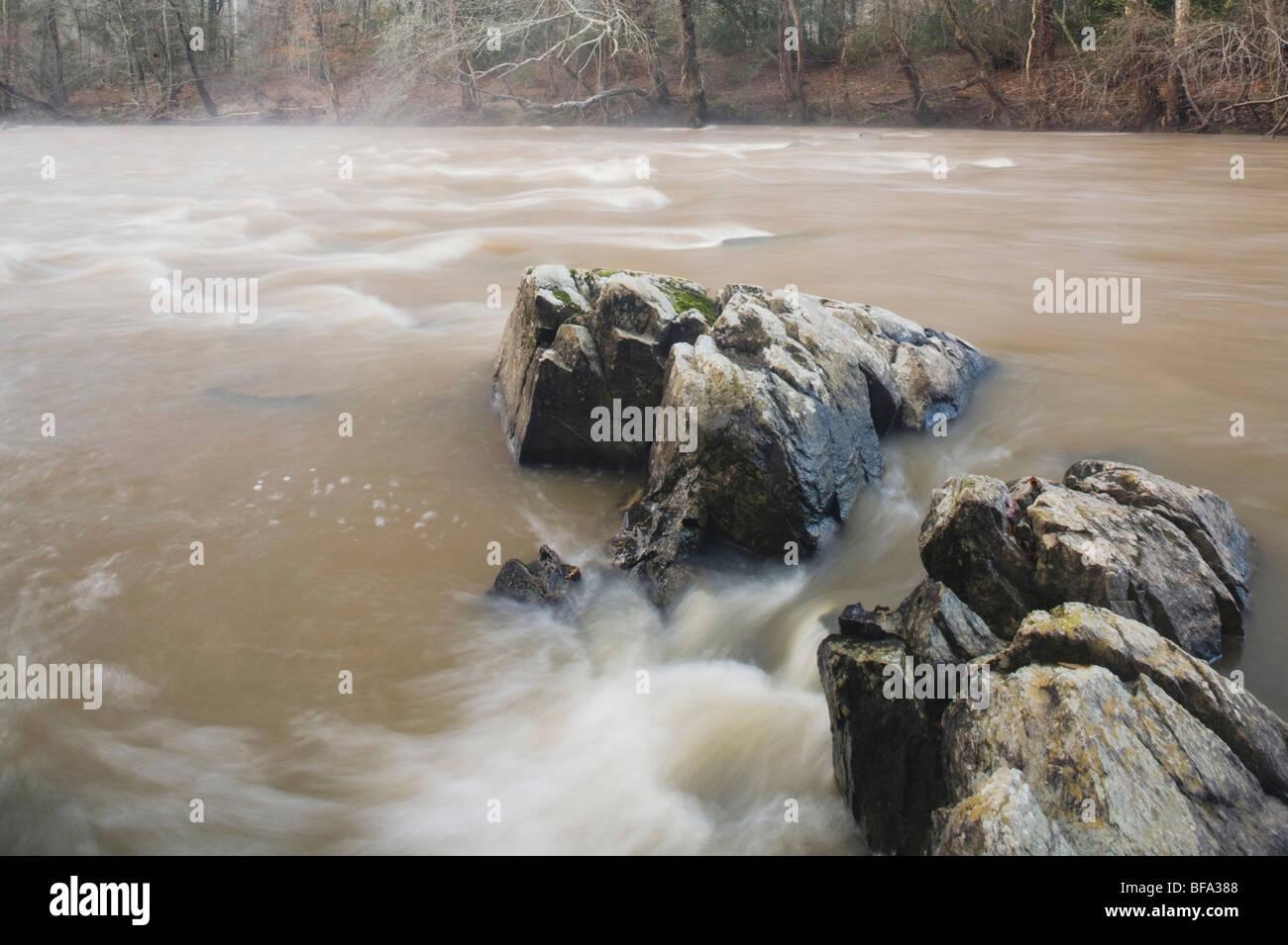 Río Haw, Haw River State Park, Pittsboro, Carolina del Norte, EE.UU. Imagen De Stock
