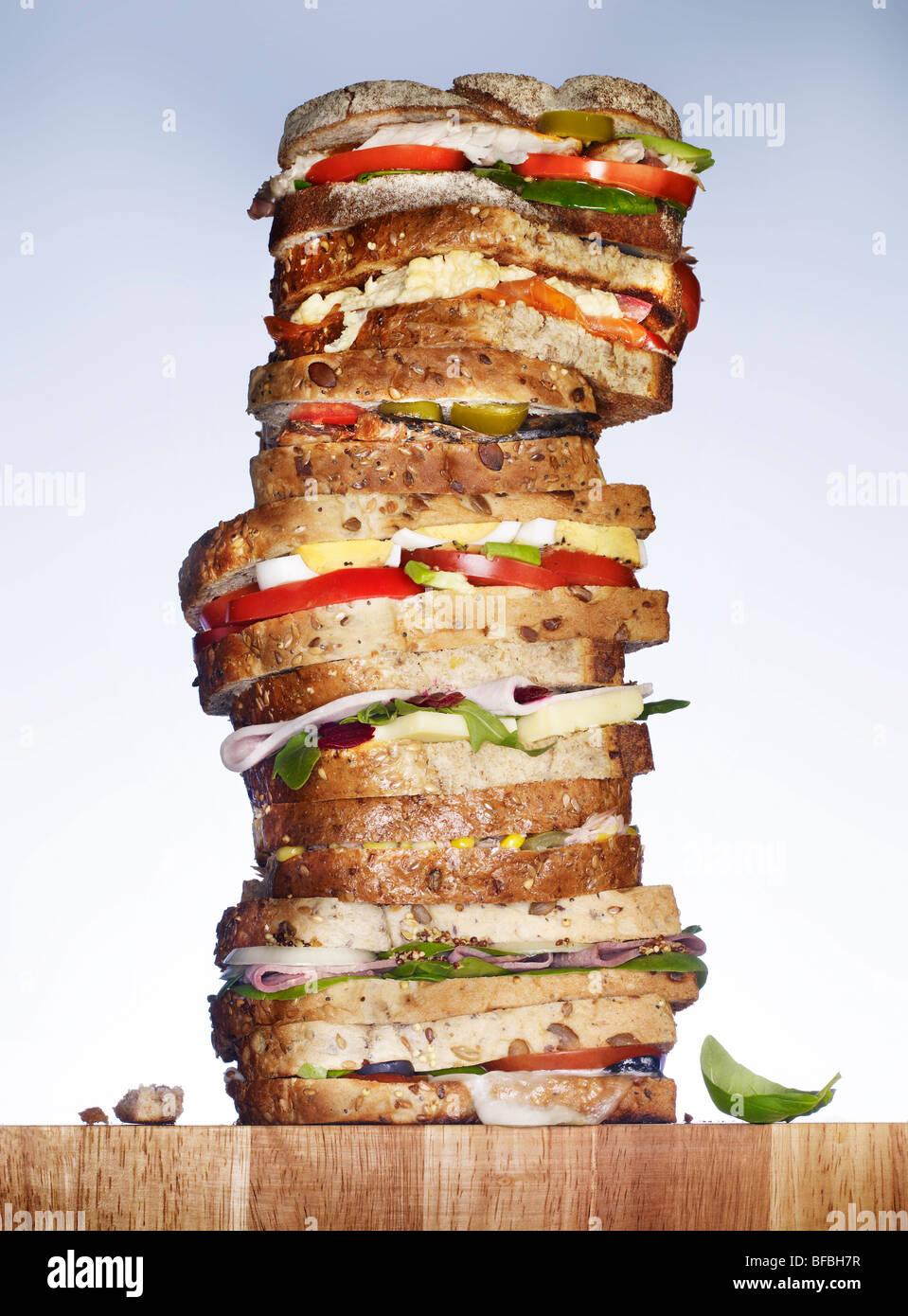 Una pila de sándwiches. Imagen De Stock