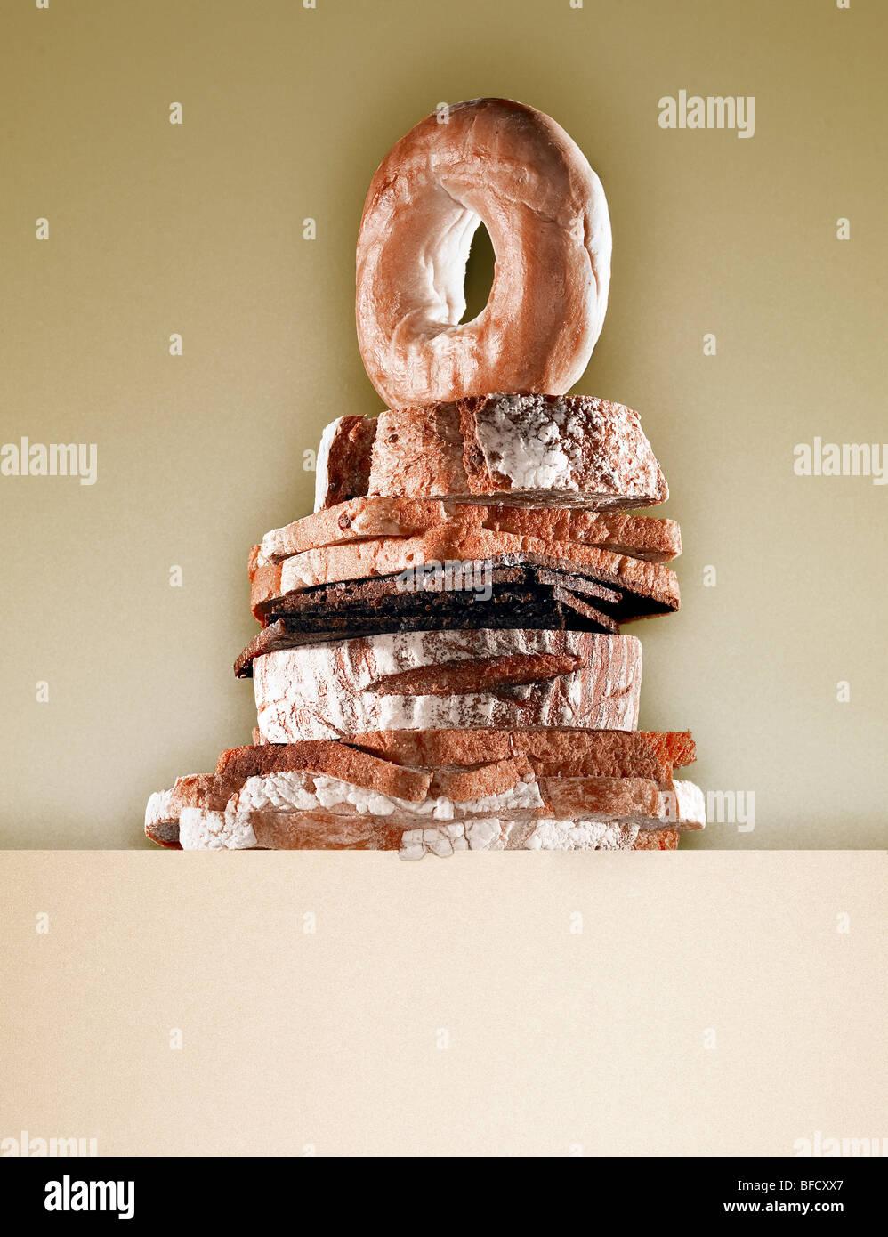 Panes, siete diferentes tipos de pan saludable utilizado para hacer sándwiches. Imagen De Stock