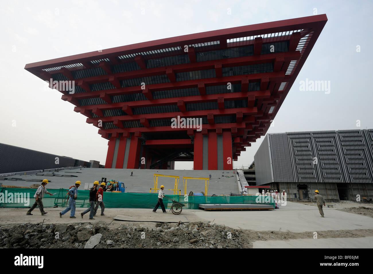 Obras de construcción de Pabellón de China de la Expo Mundial 2010 en Shanghai, China.15-Oct-2009 Imagen De Stock