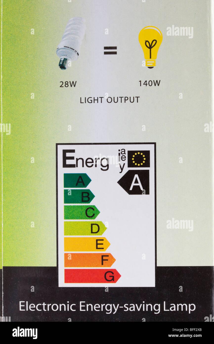 Etiqueta de energía eléctrica de la UE sobre la bombilla de bajo consumo que muestra un paquete-rating. Imagen De Stock
