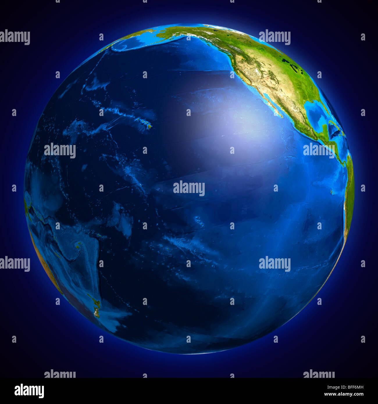 Globo Terráqueo Mostrando La Superficie Del Océano Pacífico Foto