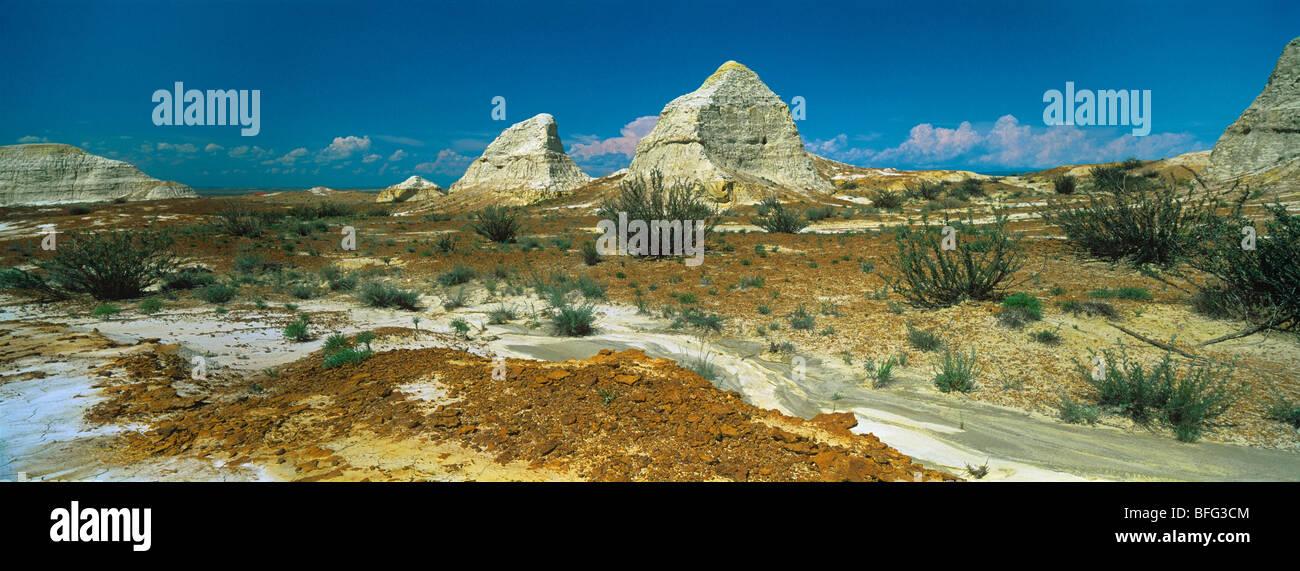 Las arcillas blancas con fósiles de montaña Kiin-Kerish paleontológica. Zaisan depresión. Kazajstán Imagen De Stock