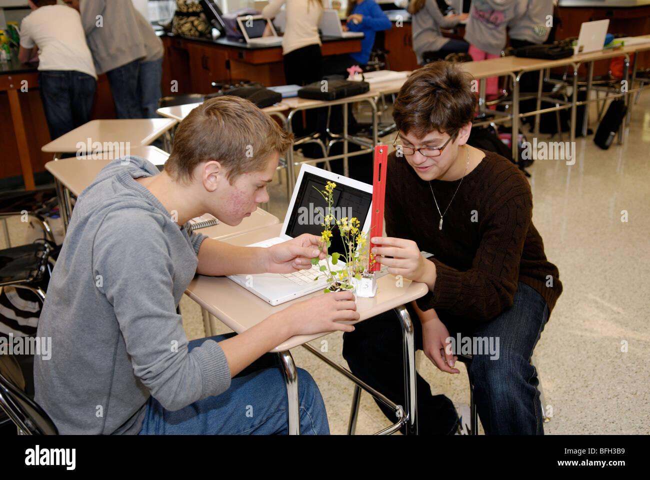 Los estudiantes de secundaria la recopilación de datos sobre una planta experimental en una clase de biología Imagen De Stock