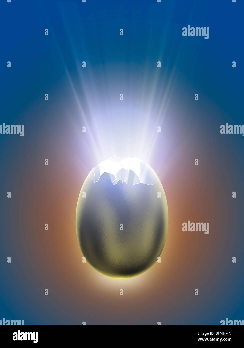 Luz procedente del huevo de plata agrietado Foto de stock
