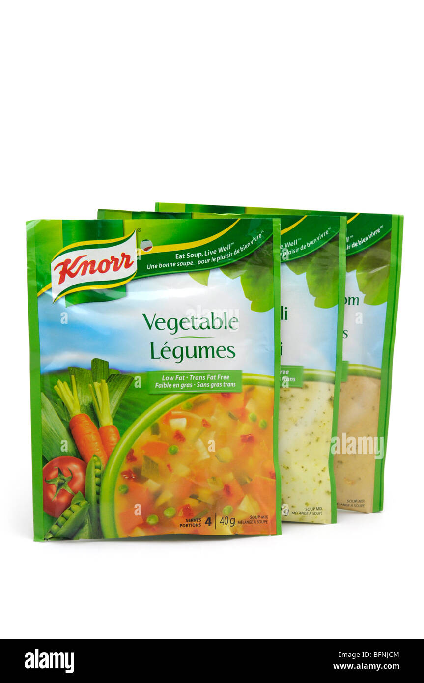 Paquetes de mezcla de sopa seca Imagen De Stock