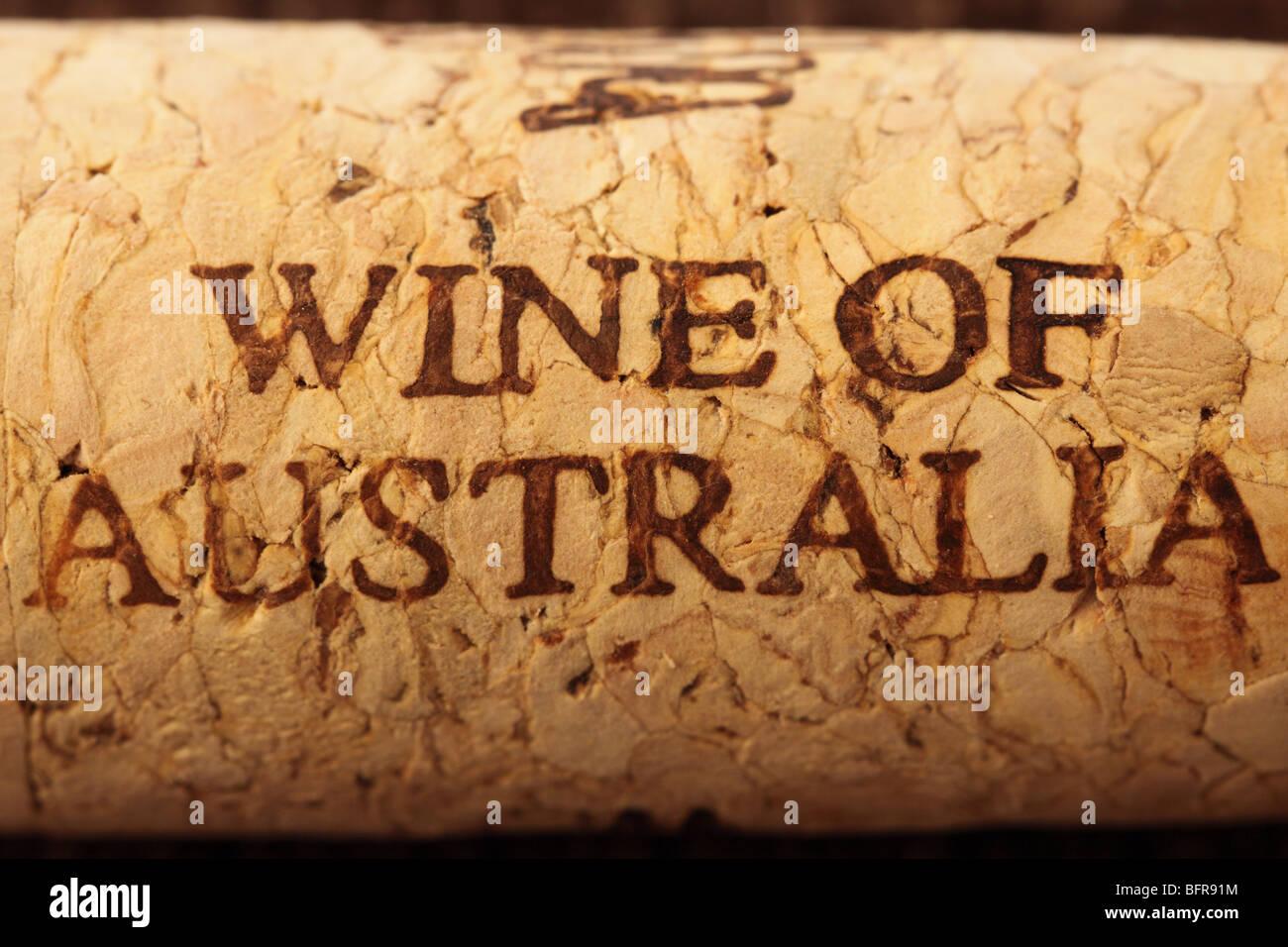 Vino de Australia vino tapón de corcho Imagen De Stock